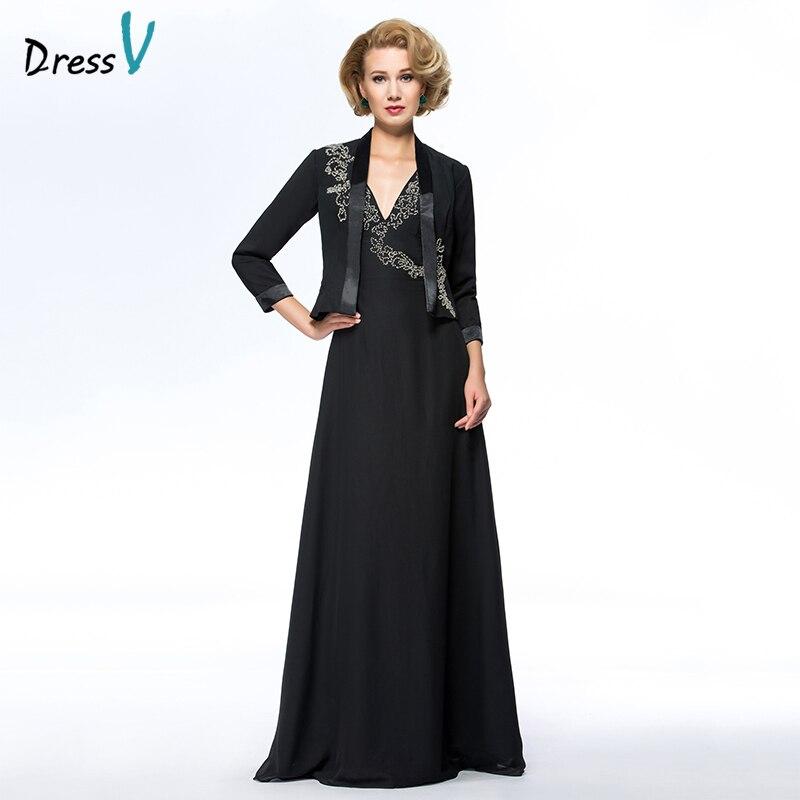 Dressv Black Long Mother Of The Bride Dress V Neck A Line Long Sleeves With Jacket Elegant Custom Wedding Party Mother Dress