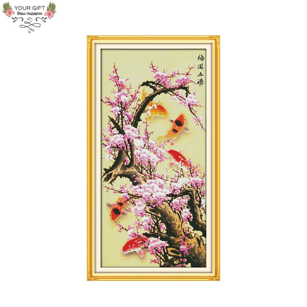Joy Sunday H310 3 14CT 11CT Counted and Stamped Home Decor Blooming Plum Flower with 5