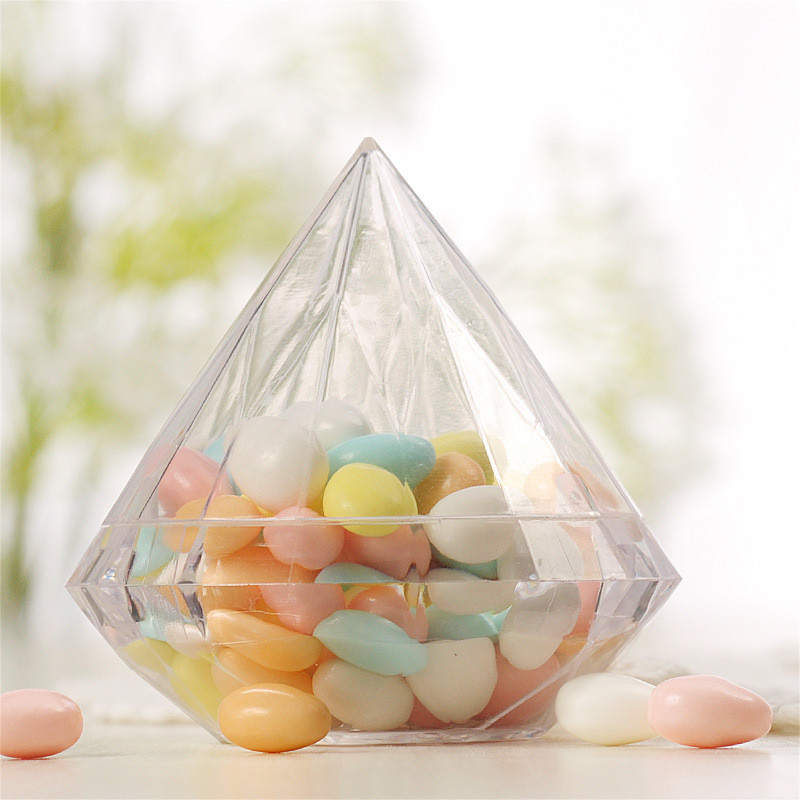 48pcs lot Clear Plastic Candy Box Wedding Chocolate Packing Box Wedding Favours Baby Shower Party favors