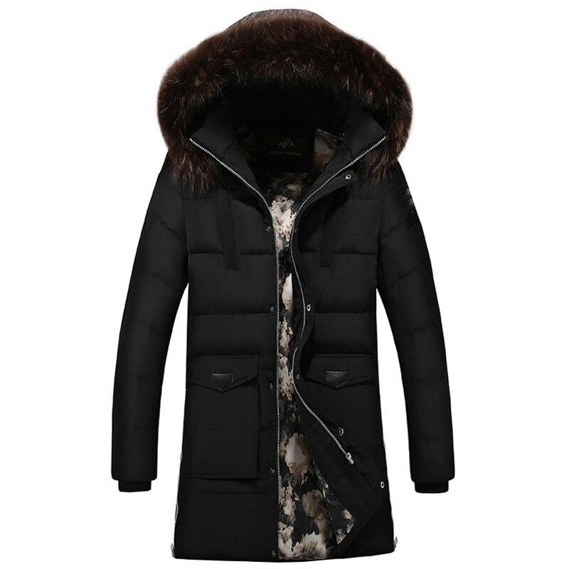 2018 Новая модная зимняя куртка мужская длинная стильная ветровка с капюшоном теплое пальто бархатная Толстая Парка мужская верхняя одежда ...