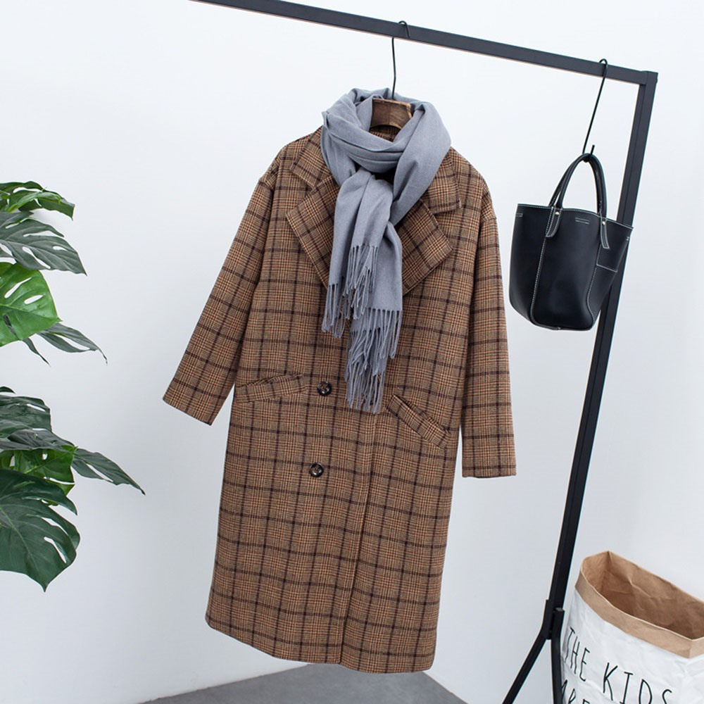 Vintage Plaid Wool Coat Women Winter 2018 Fashion Hot Sale Thicken Warm Soft Loose Outerwear Korean High Street Casual Overcoat