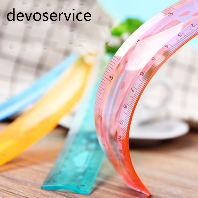 15cm 6in  Candy Color Arbitrary Flexible Ruler Student Stationery School Office Supplies Mapping Tools Painting Rulers
