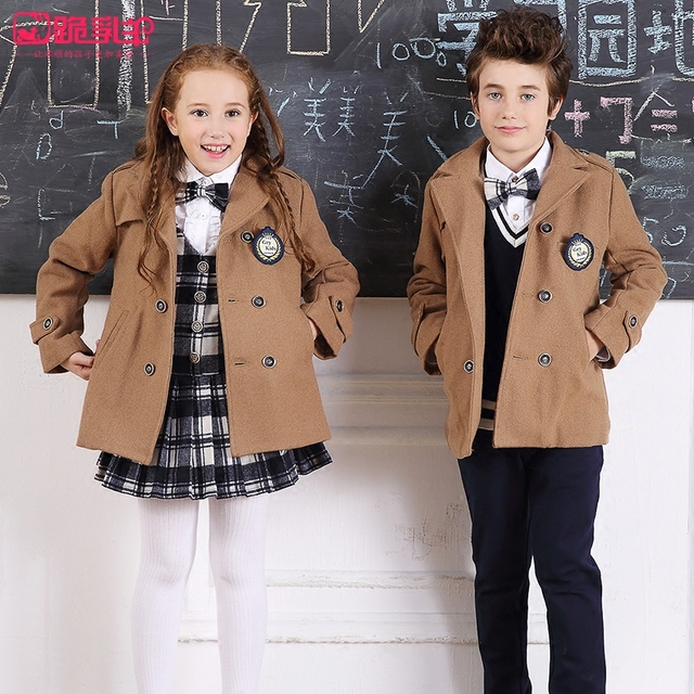 Muchacha del muchacho de traje de tela de abrigo de la nueva manera británica de viento grandes de los niños ropa de abrigo de paño de lana niños con gruesas escudo