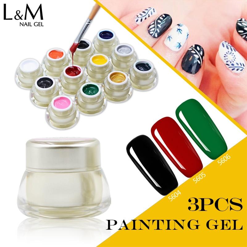 3pcs ibd 3D DIY UV LED Paint for Nail Soak Off Painting Nails Polish Color Acrylic Kit Varnish UV Nail Polish