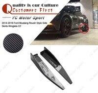 Auto Zubehör Carbon Faser Roush Stil Seite Röcke Winglet 2 stücke Fit Für 2014 2016 Mustang Seite Röcke Winglets|winglets|   -