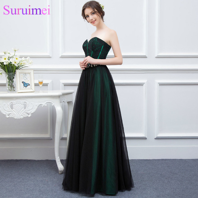 New Design Emerald Green Prom Dresses With Black Tulle Applique Beaded Long  Formal Prom Gown Real Sample High Quality f42bb3df1064