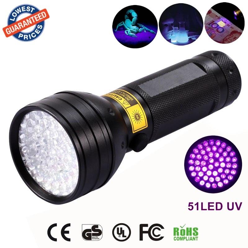 Aluminium Invisible Blacklight 51LED 51 LED 395nm UV Ultra Violet Flashlight Torch Light Lamp by AA Battery