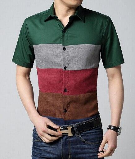Мужчины Рубашка С Коротким Рукавом 2017 Лето Новые Поступления Полосой Pattern Корейской Моды Бесплатная Доставка