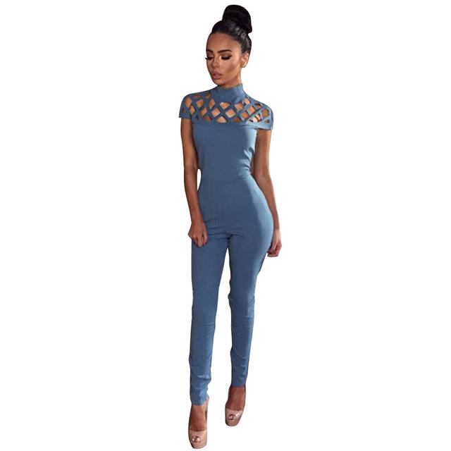 Mulheres Bodysuit Oco Out Party Bandage Rompers Playsuits 2016 Moda Sexy Gola Longas Macacões Macacão Novo Preto Azul Vermelho