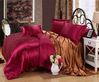 reversable bedding duvet covers sets silk/cotton twin full queen king size bedroom decor girls adults 6 7 pieces burgundy coffee