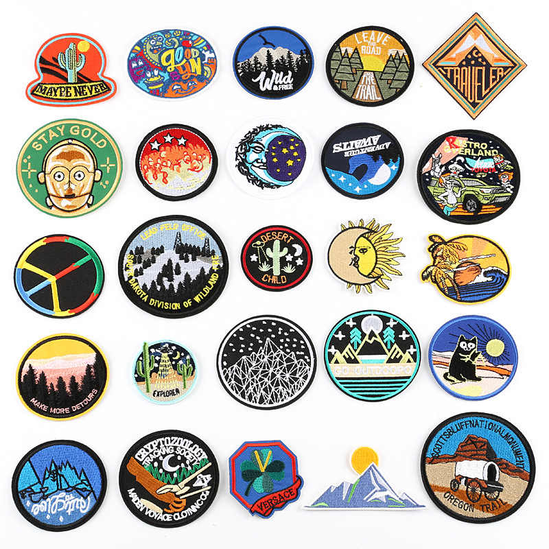Unearthly Nature Scene Sun Sea Hill Moon Round Patch Embroidered Patches For Clothing DIY Striped Clothes Circle Stickers Patch