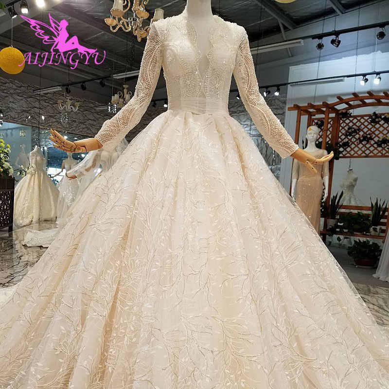 8105a77faff73 AIJINGYU White Wedding Dresses Boho Long Sleeve Satin New Luxury Dubai  Bridal Frocks Modest Puffy Gowns