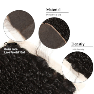 Image 5 - Pérola negra Brasileira Kinky Curly Lace Frontal Encerramento com Bundles Não Remy Cabelo Encaracolado Pacotes Com 13 3x4 lace Frontal