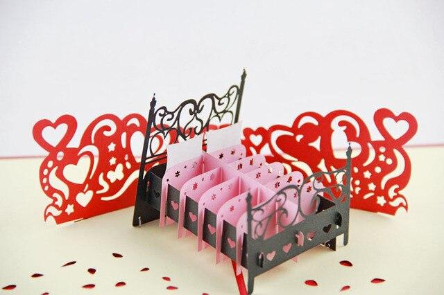 Liebe Bett Pop Up Karte, Valentinstag Geschenk