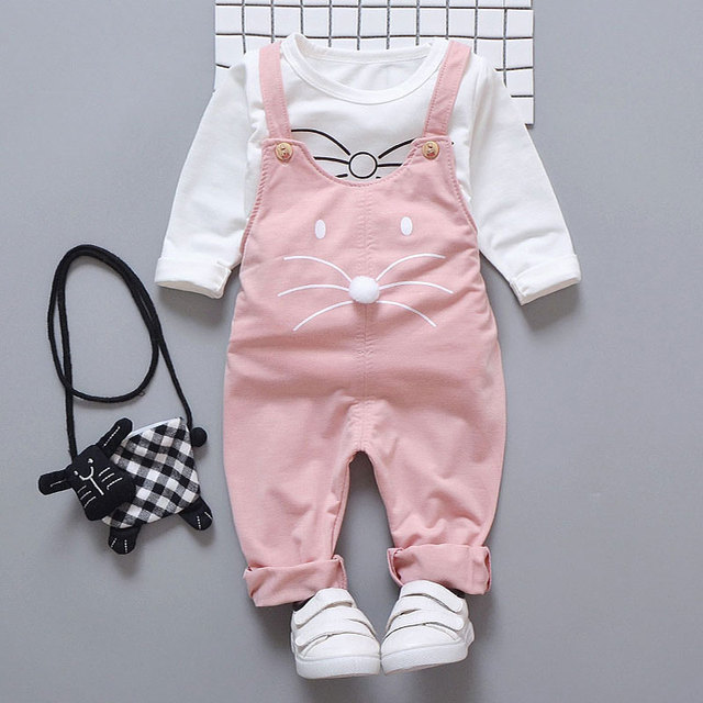 Spring newborn baby girls clothes sets T-shirt + pants suit