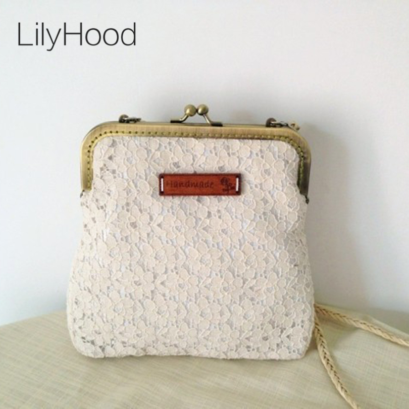 2016 Women Shabby Chic Lace Shoulder Bag Handmade Vintage Retro Victorian Style Wedding Cotton Frame Stacy Small Funky Bag shoulder bag