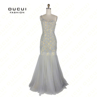 Real Photos Prom Dress Party Evening Dress Long Gowns Mermaid One Shoulder Full Handmade Beading OL102801