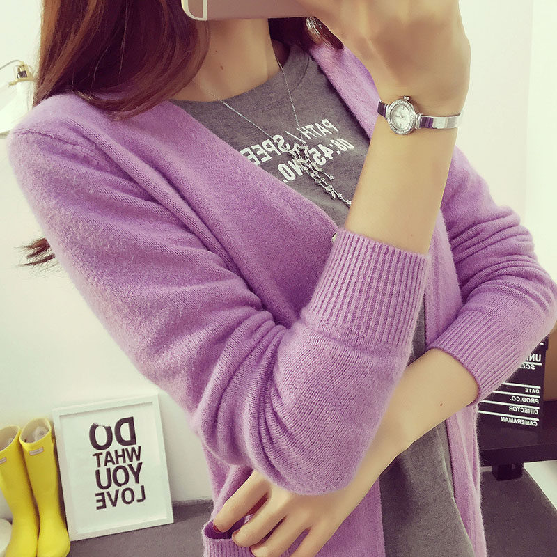 DisappeaRanceLove Brand Medium-long sweater cardigan female outerwear 2018 spring preppy style thin sweater loose spring sweater