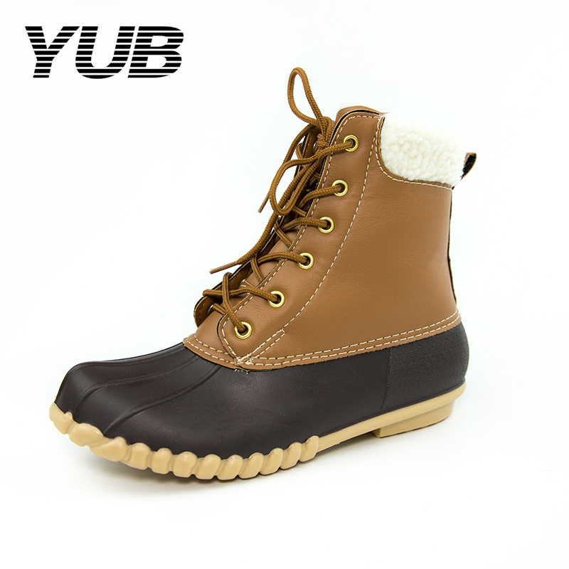 YUB Brand Women's Snow Boots Waterproof Ankle Winter Duck Boots with Lace-Up Rain Boots for Women Size 6-10 yub brand waterproof rain boots for women with solid color slip on winter mid calf shoes for girls