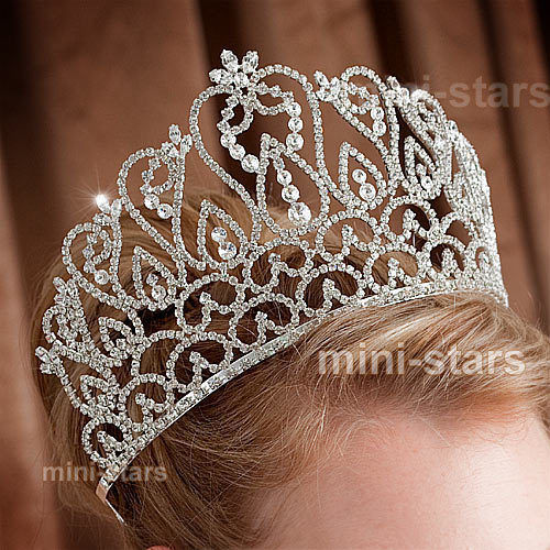 Flowers Tiara Handmade Crown with Hair Combs Clear Austrian Rhinestone Crystal Diadem Wedding Bridal Beauty Pageant Party
