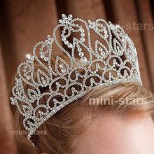Flowers Tiara Handmade Crown with Hair Combs Clear Austrian Rhinestone Crystal Diadem Wedding Bridal Beauty Pageant Party