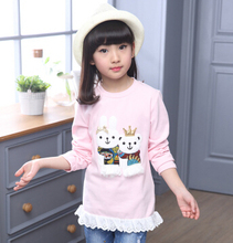 цены на 4-14 Children Girls Tops Tees Spring Brand Wear Long Sleeve Girls T shirt Dress Cartoon Sweatshirts Girl Casual Clothing  в интернет-магазинах