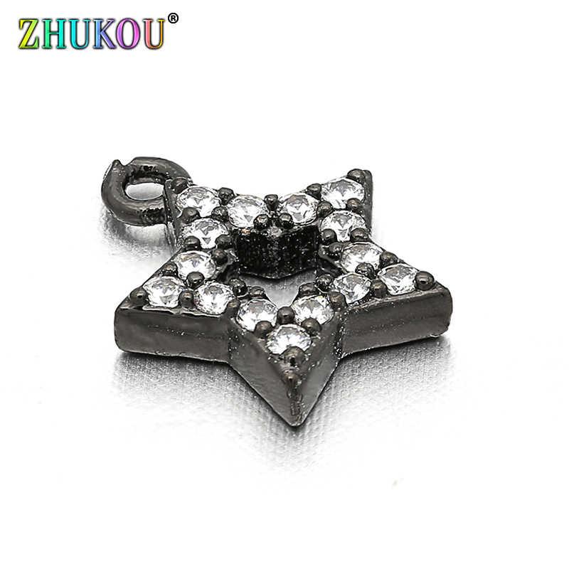 8*10mm Handgemaakte Zirconia Rhinestone Star Charms Hanger voor Diy Sieraden Bevindingen, Gat: 0.5mm, Model: VD2
