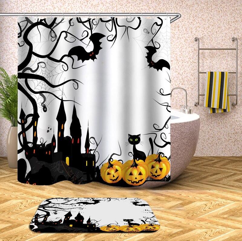 Bathroom Shower Curtain Halloween Bat Pumpkin Lantern