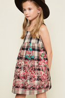 New Big Babies Embroidered Floral Dresses Junior Cotton Plaid Dress Teenager Fashion Summer Clothing 2017 Childrens