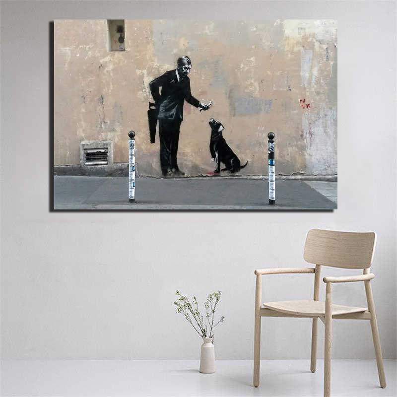 Banksy Gay Old Man And Dog Stree Art Graffit Canvas Poster Print Painting Black Wall Picture Modern Home Decoration