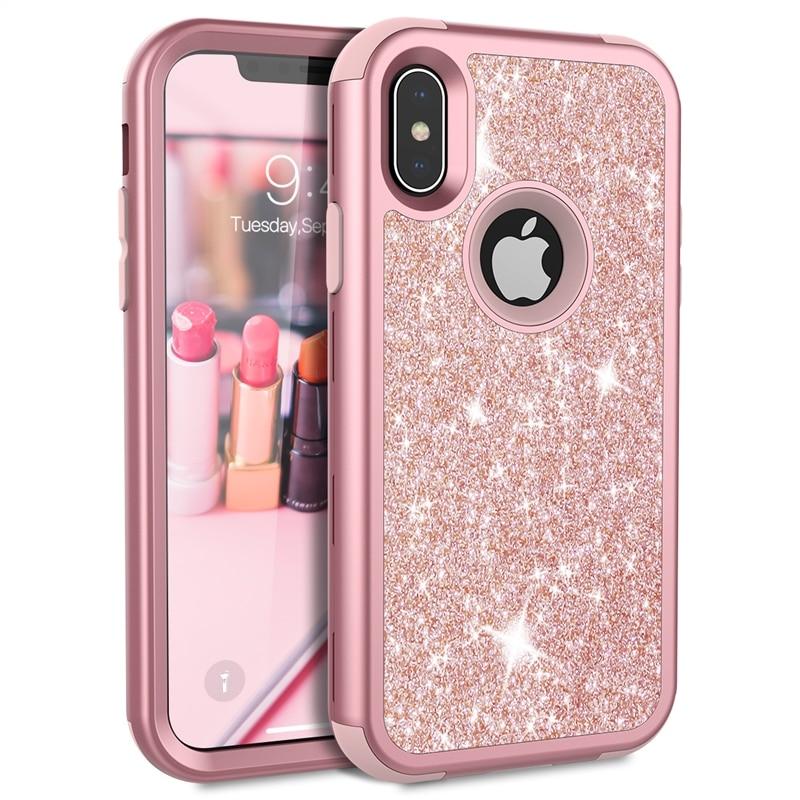 Caso de Grandever para el iPhone 7 8 más 6X6 s caso silicona PC parachoques oro rosa Bling de lujo caja del teléfono para las muchachas mujeres