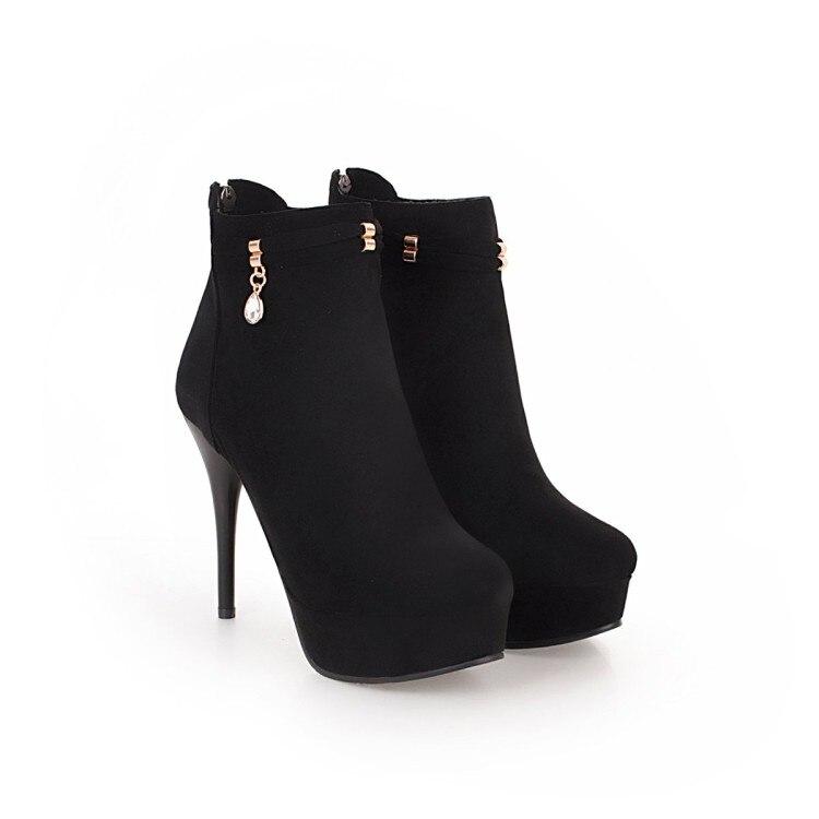 Grande taille 9 10 17 bottes femmes chaussures bottines pour femmes dames bottes fermoir pendentif fermeture à glissière arrière