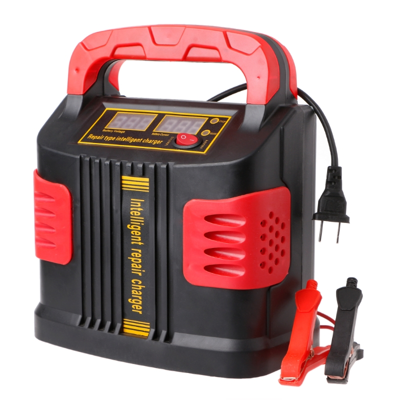 350 w 14a 자동 플러스 lcd 배터리 충전기 12 v-24 v 자동차 점프 스타터 휴대용 조정