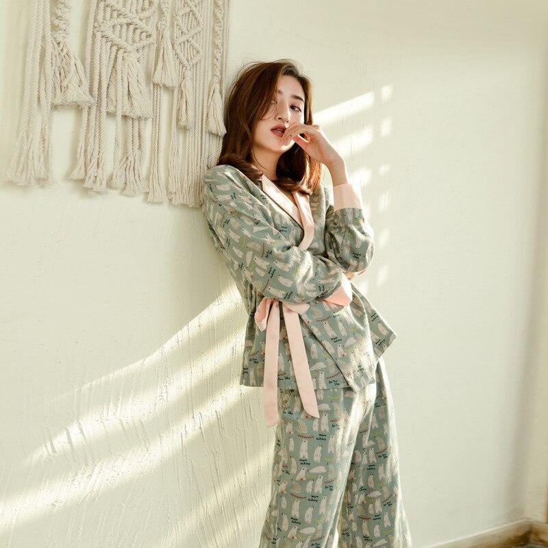 Autumn Long Sleeves 100% Cotton Pajamas Lovely Cartoon Pijama Mujer Printing Pyjamas Women V-Neck Sleepwear Loungewear Pj Set
