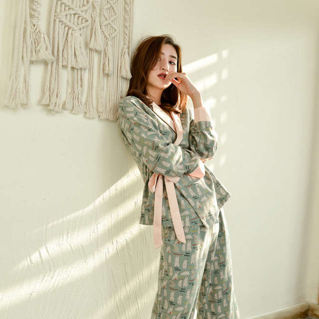 Herbst Langen Ärmeln 100% Baumwolle Pyjamas Schöne Cartoon Pijama Mujer Druck Pyjamas Frauen V ausschnitt Nachtwäsche Loungewear Pj Set