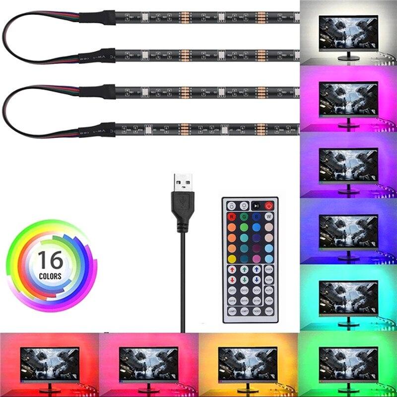 SMD 5050 RGB Tira CONDUZIDA DC 5V USB Flexível Luzes Tarja IP20 IP65 Fita 2m 3m Adicionar Remoto À Prova D' Água Para O Interior Fundo TV