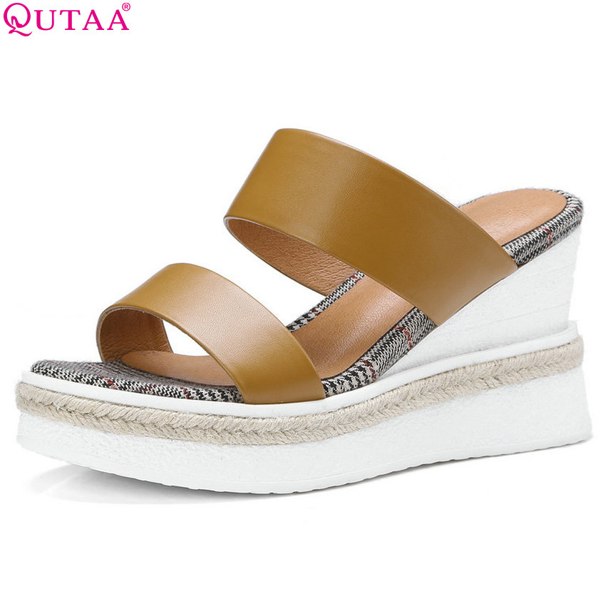 QUTAA 2018 Women Sandals Wedges High Heel Platform Genuine Leather Fashion Women Shoes Casual Women Sandals Size 34-42 new women sandals low heel wedges summer casual single shoes woman sandal fashion soft sandals free shipping