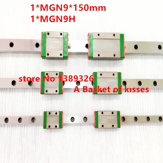 Free shipping 9mm Linear Guide MGN9 150mm linear rail way + MGN9C or MGN9H Long linear carriage for CNC X Y Z Axis