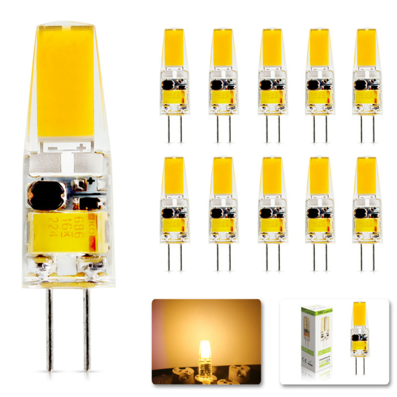 10Pcs/lot 2017 G4 6W Replace halogen lamp light 360 Beam Angle AC DC 12V Led Dimmable bulb Lamp SMD luz lampada led