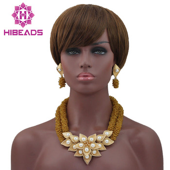 Fashion Beads Necklace Set Gold Jewellery Set Indian Jewelry Set Gold Statement Necklace Set for Brides Free Shipping HX705