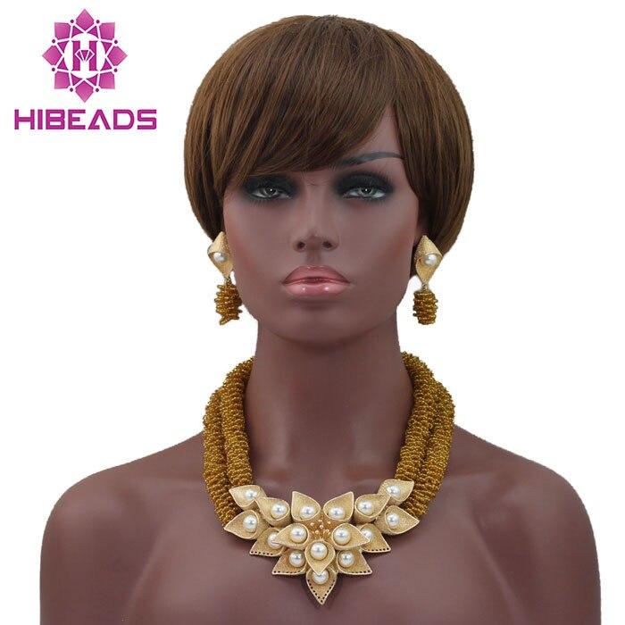 Mode Perles Collier Set Bijoux En Or Mis Indien Ensemble de Bijoux Or Déclaration Collier Ensemble pour les Mariées Livraison Gratuite HX705