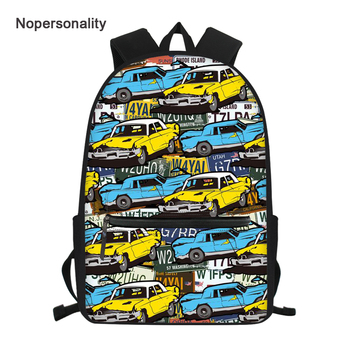 Nopersonality Cool Middle School Boys Backpack Vintage Car Pattern Bagpack for Kids Stylish Primary Children Bookbag Rucksack 16 image