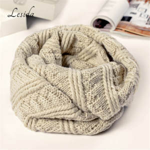 LESIDA Knit Infinity winter Scarf For Women Tube Warm Winter Neck Kerchief Ring Loop Scarf Sjaal Female 80*70CM 3412
