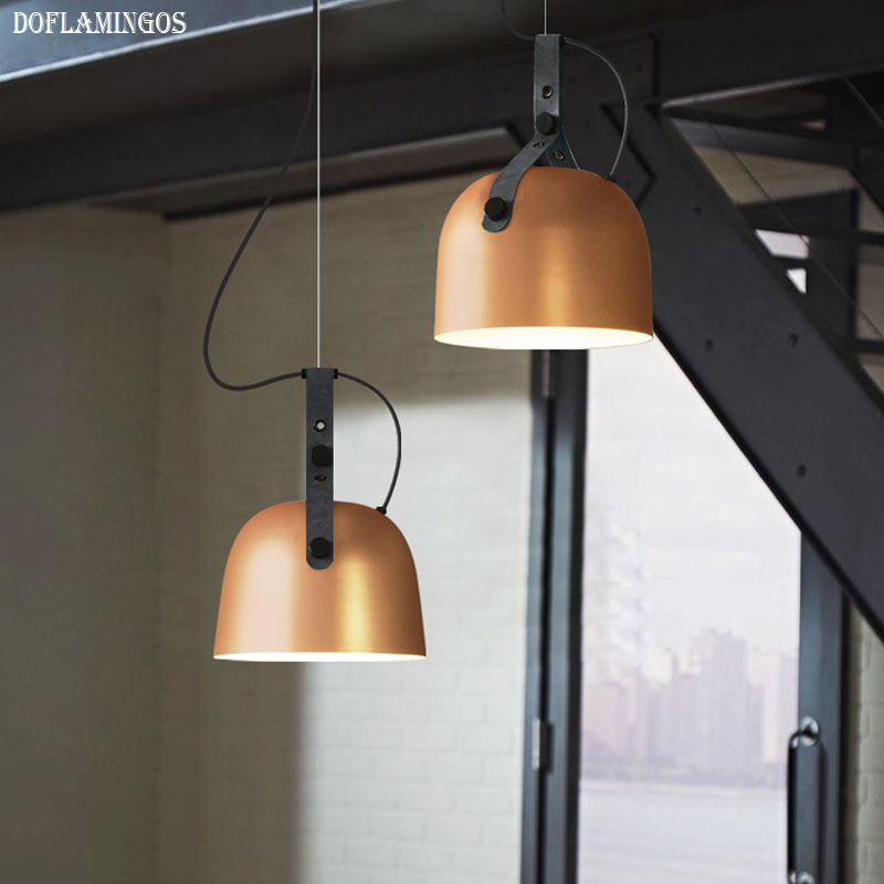 2019 NEW Personality Design Simple American Industrial Style pendant lights Cafe Restaurant Bar Bedroom Leather Girdle