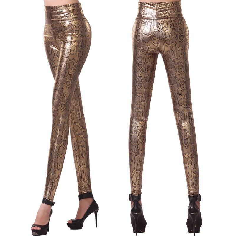 Золотой Леггинсы для женщин модные, пикантные из змеиной кожи Леггинсы для женщин Для женщин ночной бар тонкий леггинсы пикантная танцевал...