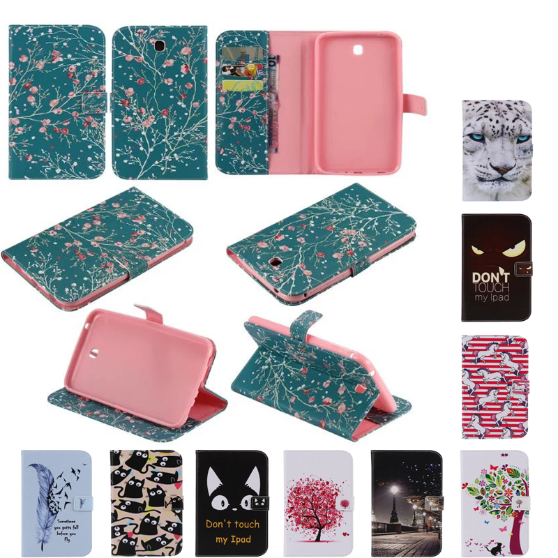 Cat case for samsung galaxy tab 3 7.0 SM-T210 T210 T211 P3200 tablet cover folio fundas for samsung galaxy P3200 new 7 inch for samsung galaxy tab 3 t210 sm t210 tab3 lcd touch screen lens glass outer front panel free shipping