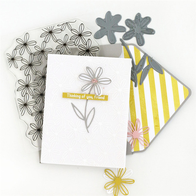 Naifumodo Flower Dies Stamps and Dies Scrapbooking Floral for Card Making Album Embossing Craft Stamp with Die Sets New 2019