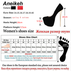 "Image 5 - Aneikeh גדול גודל 41 42 43 44 45 סקסי משאבות חתונה נשים פטיש נעליים גבוהה עקב חשפנית צאן משאבות 16 ס""מ Zapatos Mujer"