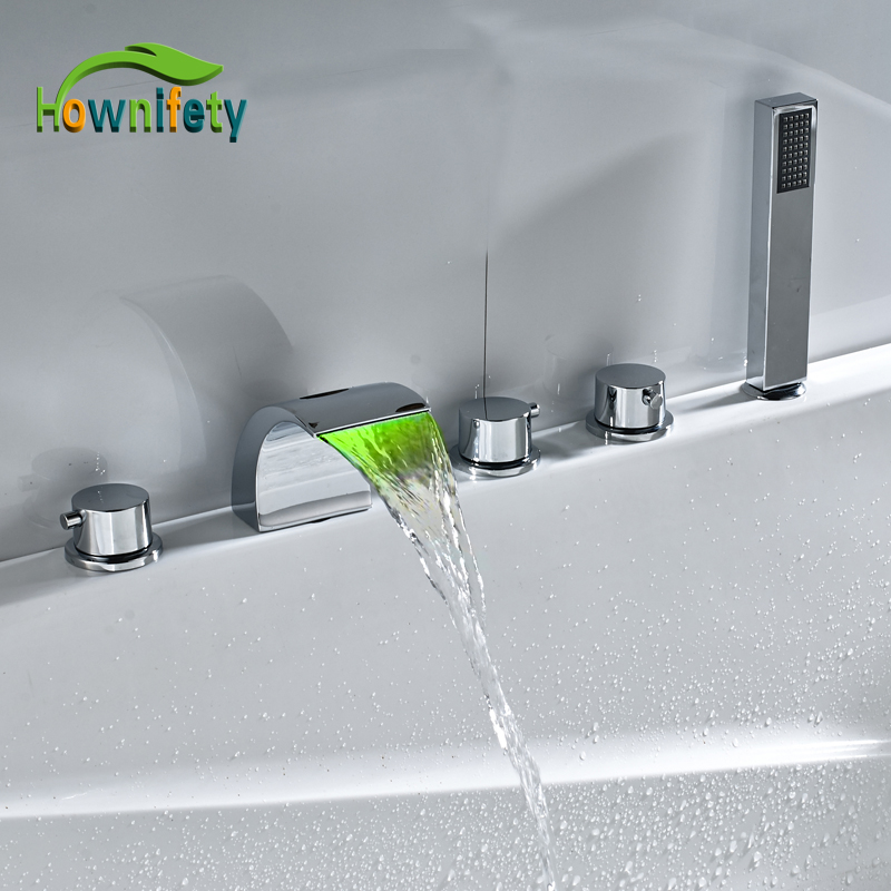 LED Waterfall Spout Bathtub Faucet Three Handle Mixer Tap with Hand Shower Chrome Polished