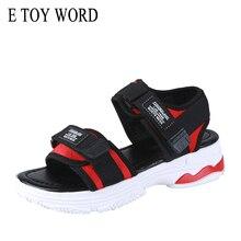 Купить с кэшбэком E TOY WORD Women's sandals platform shoes women 2019 New summer women's flat shoes Hook & Loop ultralight Beach sandals